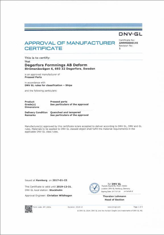 APPROVAL OF MANUFACTURER CERTIFICATE DNV-GL